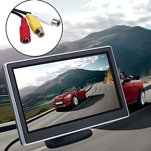 Duoying Monitor LCD de 5 Pulgadas, Pantalla LCD para Coche, Reproductor de VCR, DVD, cámara de visión Trasera, Marcha...