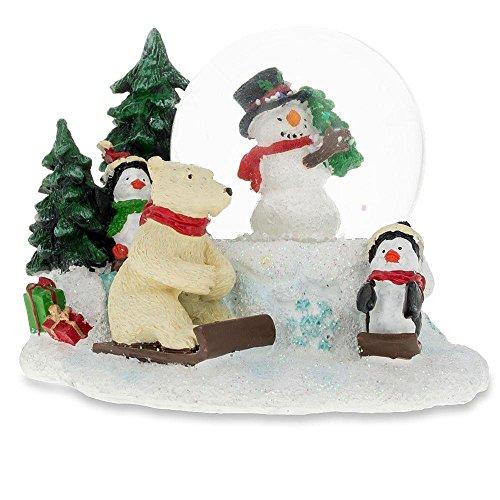 BestPysanky Cheerful Snowman, Polar Bear and Penguins Mini Snow Globe