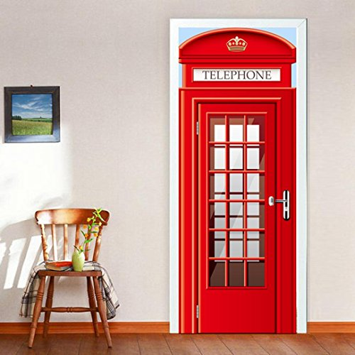 Transer London Telephone Box Phone Booth PVC Door Wall Mural Wallpaper Stickers - PEEL and STICK - Easy-to-clean, Durable - 30.3