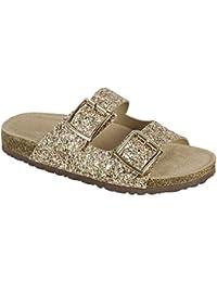 e9c91664c449 Women s Glitter Solid Double Strap Cork Sole Slide Sandals