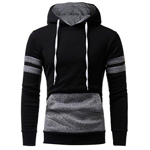 HTHJSCO Hoodie Coats, Men's Sweater Jackets Warm Hooded Sweatshirt Outwear Tops Pullover Jacket with Pocket (Black, M) by HTHJSCO