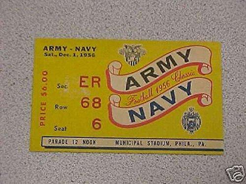 (1956 ARMY/NAVY FOOTBALL TICKET STUB. Tie game 7-7)