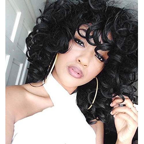 ForQueens Short Curly Wigs Synthetic Kinky Wig with Bangs Fluffy Wavy Black Hair for Women Natural Looking with Heat Resistant Fiber (Wig Beautiful)