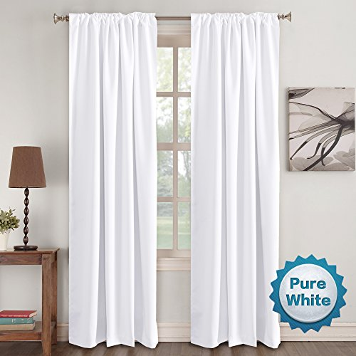 (Window Curtain Panels White Curtains Insulated Thermal Back tab/Rod- Pocket Room Darkening Curtains, Pure White, Solid Curtains for Living Room, 52