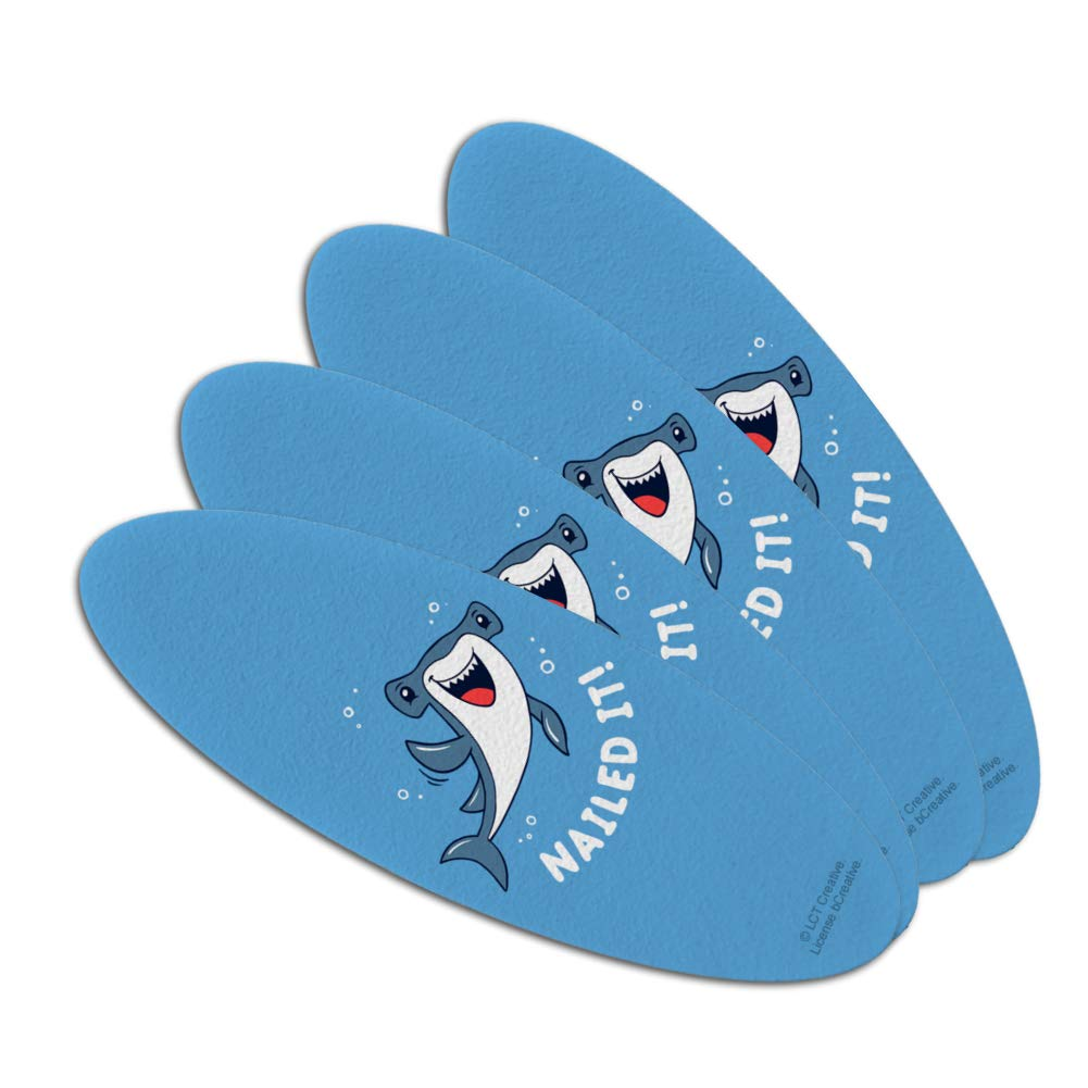 Nailed It Hammerhead Shark Funny Humor Pun Double-Sided Oval Nail File Emery Board Set 4 Pack