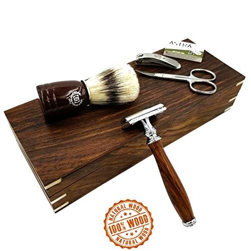 Wooden Men Shaving Set Safety Razor Zeva Shaving Brush Pu...