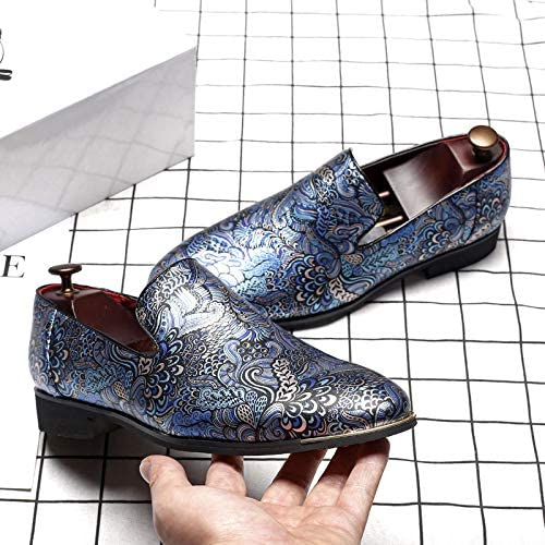 LEOED Blue Classic Dress Loafer Shoes Formal Slip-On Shoes Round-Toe Leather Lined Lazy Shoes for Men Size11