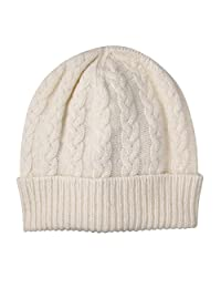 Pure Cashmere Cable Knit Beanie Hat made in Scotland