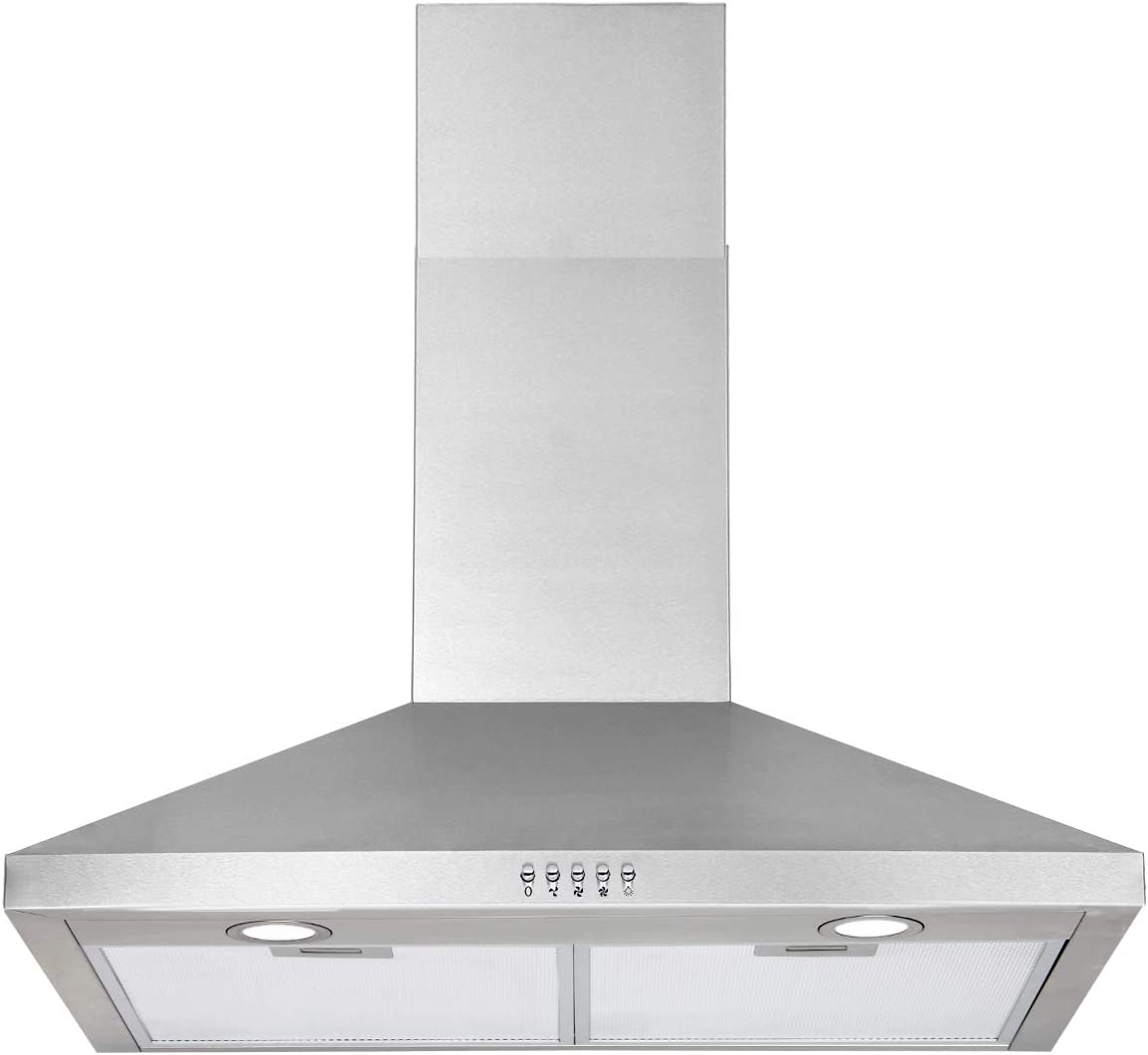 Stainless Steel Ducted Kitchen Hood Adjustable Chimney LED Extra Extension 30 Hood HTH 30 Wall Mount Range Hood Multi Choice 3 Speed 8-11ft Ceiling Push Button Exhaust Fan