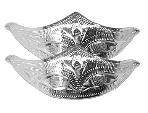 Modestone Pair Nickel Silver Toe Caps/Tips Western Filigree O/S Silver - Cowboy Boot Toe Caps