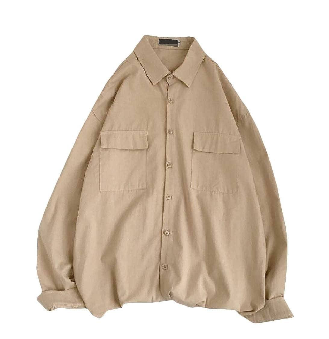 pipigo Men No Iron Juniors Long-Sleeve Button Down Solid Shirt