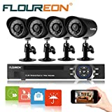 FLOUREON 1 X 8CH 960H DVR Onvif 1080P Surveillance DVR Recorder + 4 X Outdoor 900TVL High Resolution IR-CUT IP66 Weatherproof Day/Night Bullet Cameras Home Security Surveillance System Kit