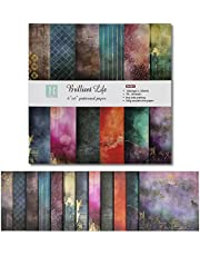 ZIIVARD Scrapbook Paper Pack 24 Sheets -Brilliant Life Scrapbooking Kit Pad Paper for Photo Album DIY Origami Art Background Collection Holiday Decoration,15.2 X 15.2CM
