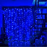 SZXKT 304LED 9.84FT Fairy Curtain String Lights with 8 Lighting Modes for Christmas Holiday Home Party Garden Window - Blue