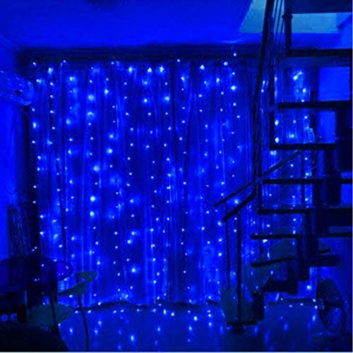 SZXKT 304LED 9.84FT Fairy Curtain String Lights with 8 Lighting Modes for Christmas Holiday Home Party Garden Window - Blue by SZXKT