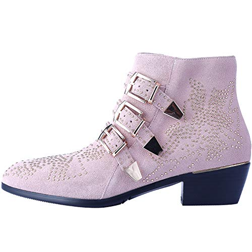 Boots for Women,Women's Leather Boot Rivets Studded Shoes Metal Buckle Low Heels Ankle Studded Booties Suede Pink Gold 6.5 Size (Pink Riding Boots For Women)
