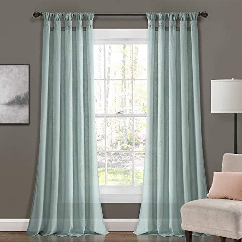 Lush Decor Blue Burlap Knotted Tab-Top Window Curtain Panel Pair 95″ x 45″