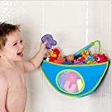 GudeHome Kids Corner Bath Organiser Baby Bath Toy Container Waterproof Storage Bags with Suctions in Bathroom Triangle (Blue)