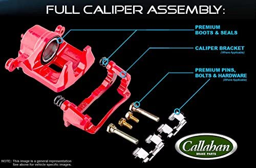 Performance Grade Red Powder Coated Semi-Loaded Caliper Assembly Pair Set Callahan CCK11920 FRONT 2