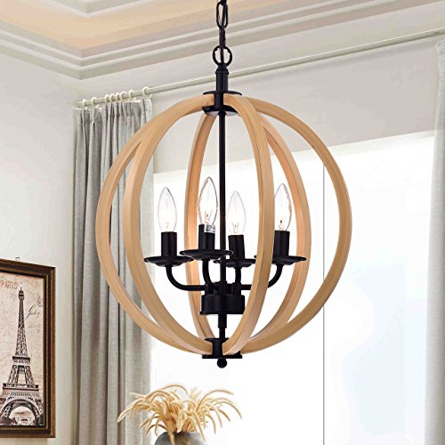 "Warehouse of Tiffany RL8128-16BR Modern Fedelmid All Metal with Natural Wood Paint 16"" Round Pendant Lamp"