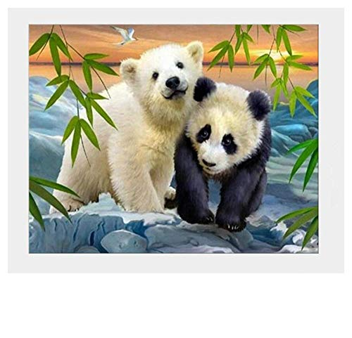 5D DIY Diamond Painting Kits Full Drill Diamond Embroidery Panda and Bear-15.7×11.8 inch]()
