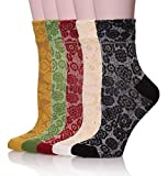 Velice Womens Cotton Vintage Style Crew Socks 5-pack