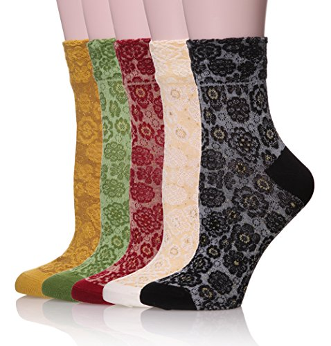 Velice Womens Cotton Vintage Style Crew Socks 5-pack (Style V-1), One Size