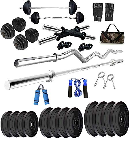 BODYFIT Home Gym Set, Home Gym Combo, Gym Equipments, [10-60Kg], 3ft, 5Ft Straight Rod+ One Pair Dumbbell Rods, PVC Dumbbell Plates, Home Gym Kit, Army Bag with Gym Accessories