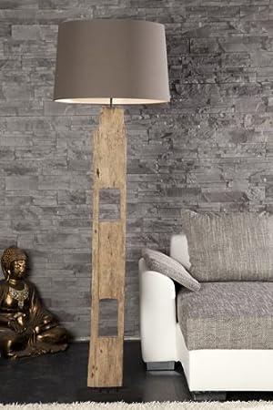 Große handgefertigte Treibholz Lampe RELICT Schirm braun Stehlampe ...