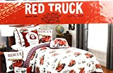 Red Truck Clothing Co. Cotton Reversible TWIN Quilt Set Firetruck Red White Black Navy