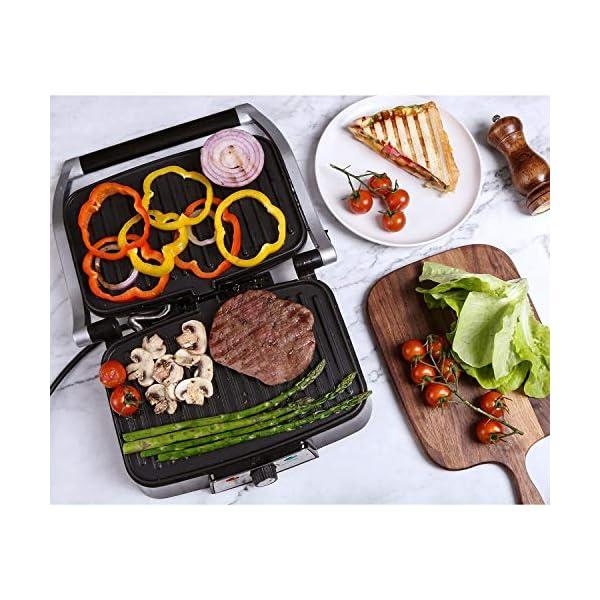Aigostar Hitte 30HFA - Panini Maker/Griglia, Pressa a sandwich, Griglia elettrica, 1500 Watt, Fredda al tocco… 5