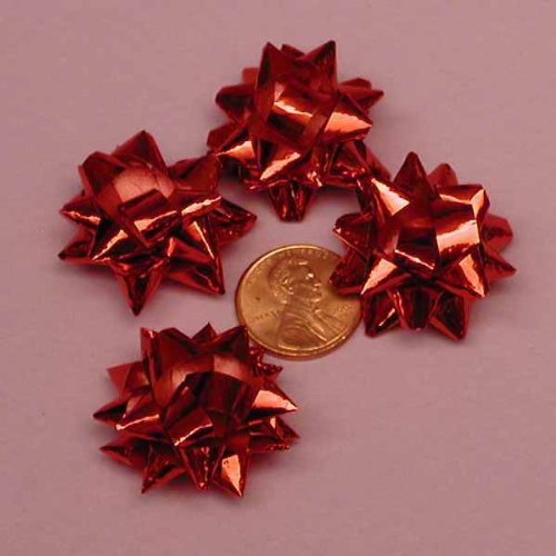 Red Metallic Confetti Bows, 1
