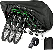 EUGO Bike Cover for 2 Bikes Outdoor Waterproof Bicycle Covers Oxford Fabric Rain Sun UV Dust Wind Proof for Mo