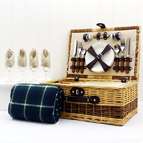 Buxton 4 Person Wicker Picnic Basket Set with Traditional Green Blanket - Gift Ideas for, Birthday, Wedding, Anniversary and Corporate, Mom, Mothers Day, him, her, Thank you, Appreciation gifts ($50 Gift Christmas Ideas)