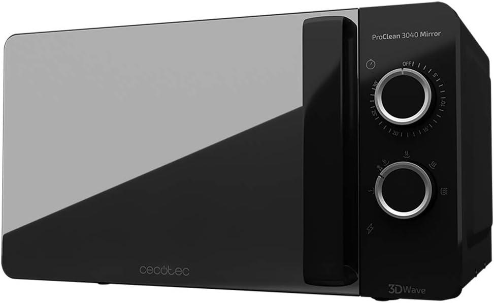 Cecotec ProClean 3040 - Microondas, Capacidad de 20l, Revestimiento Ready2Clean, 700 W de Potencia, 6 Niveles Funcionamiento, Temporizador 30 min, Modo Descongelar, Color Negro