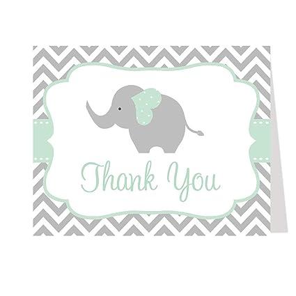 Elefante tarjetas de agradecimiento, Chevron, rayas, Baby Shower ...