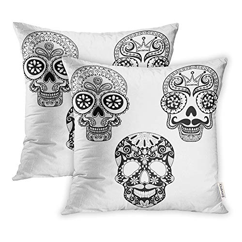 Emvency Pack of 2 Throw Pillow Covers Print Polyester Zippered Zentangle Patterned Skulls for Halloween Adult Coloring Pages Freehand Pillowcase 20x20 Square Decor for Home Bed Couch Sofa ()