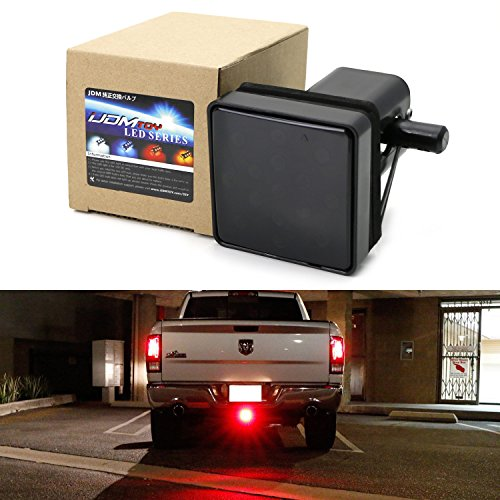 iJDMTOY Smoked Lens 15-LED Super Bright Brake Light Trailer Hitch Cover Fit Towing & Hauling 2