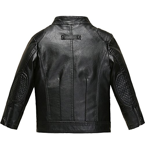 Budermmy Boys Faux Leather Motorcycle Moto Biker Jackets Zipper Coats Black Size 12 by Budermmy (Image #1)