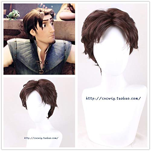SYH01 Halloween Mens Tangled Prince Flynn Rider cosplay brown hair wig costumes Hairpiece Wigs Wig Cap for Black White Men