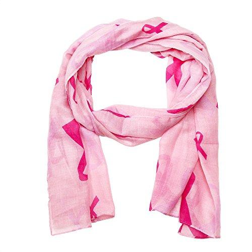 Falari Women's Pink Ribbon Breast Cancer Symbol Scarf (Pink Scarf) IF0033-P ()