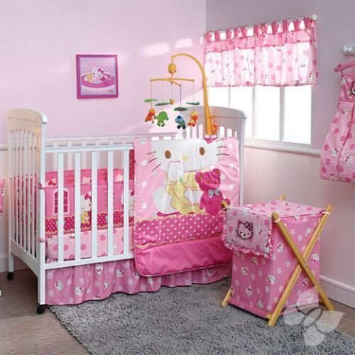 Hello Kitty Crib Bedding Set (Hello Kitty Caramelo Crib Bedding 12Pc Complete Set)
