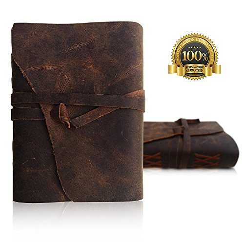 LEATHER JOURNAL Writing Notebook with leather covered pen and gift box, - Antique Handmade Leather Bound Daily Notepad for Men & Women - Unlined Paper Medium 7