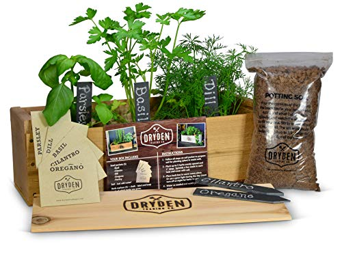 (Indoor/Outdoor Herb Garden Kit - Cedar Planter Box with Herb Seeds, Plant Stakes and Expanding Wondersoil - 16