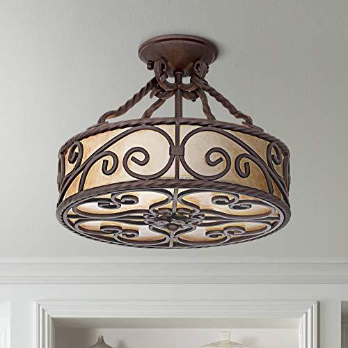 "Natural Mica Collection 15"" Wide Iron Ceiling Light Fixture - John Timberland"