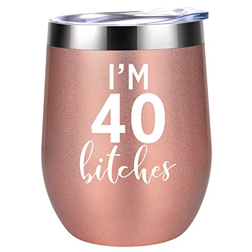 I'm 40 - Funny 40th Birthday Gifts for Women - Best Turning 40 Year Old Birthday Gift Ideas for Wife, Mom, Sisters, Her, Friends, Coworkers - Coolife 12 oz Stainless Steel Wine Tumbler Insulated Cup