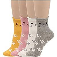 Pack de 4Womens Soft Cute Animal Patrón Casual Crew–Calcetines por jjsocks One Size Fits All