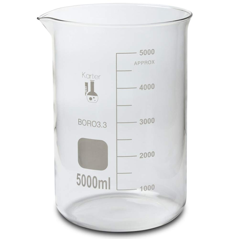 5000ml Beaker, Low Form Griffin, Borosilicate 3.3 Glass, Single Metric Scale, Karter Scientific (Variations Available)