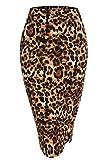 Zeagoo Women Sexy Leopard Print Elastic Waist Band Pencil Skirt With Side Split,Small,Leopard 1