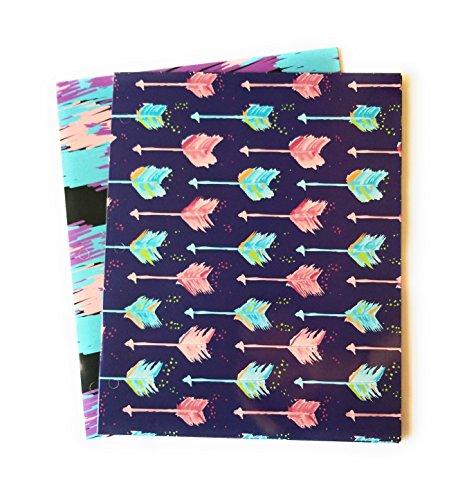 Set of 2 Laminated Fashion Two Pocket Portfolio Folders - Painted Arrow]()